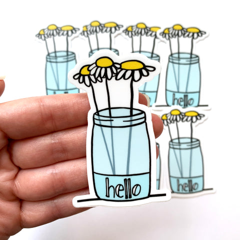 Daisy Jar Flower Laptop Sticker - Hello Stickers - Vinyl Flower Stickers - Phone Case Sticker - Water Bottle Sticker