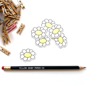 Daisy Vinyl Sticker, Envelope Sticker, Packaging Sticker, Flower Decal - NEW