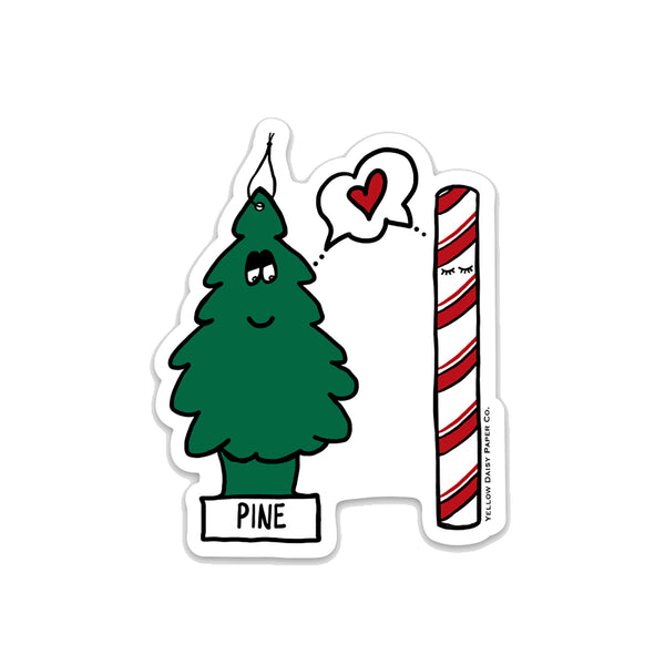 Fresh, Pine Candy Cane Christmas Vinyl Sticker. Funny Holiday Vinyl Sticker Gift Under 5. Cute Holiday Sticker. Wrapping, Laptop, Car. NEW