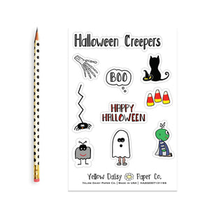 Halloween Creepers Sticker Sheet, Vinyl Stickers Variety Set of Stickers - NEW