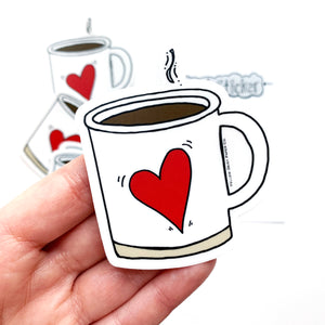 Heart Coffee Mug Clear Vinyl Sticker. Clear Coffee Sticker with Red Heart. 3in Sticker. Coffee Gift. NEW