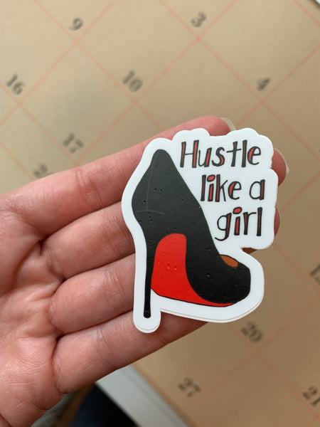 SALE - Hustle Like A Girl Sticker, Vinyl Sticker Feminist - Imperfect Seconds Sale