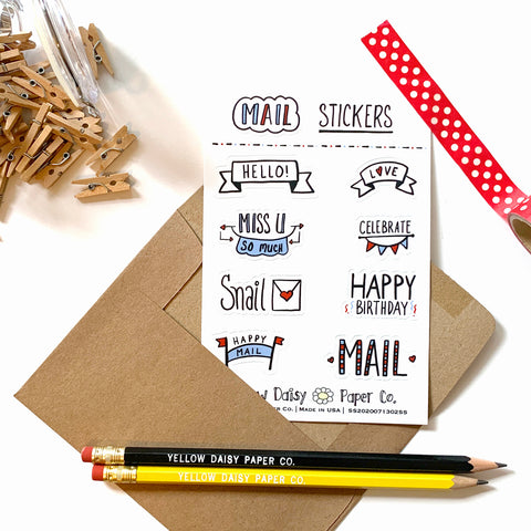 Mail Sticker Sheet, Vinyl Stickers Variety Sticker Set - NEW