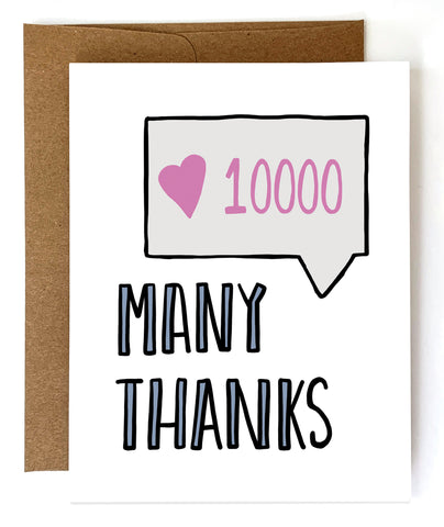 Many Thanks, Thank You Card - Single Card or Boxed Set