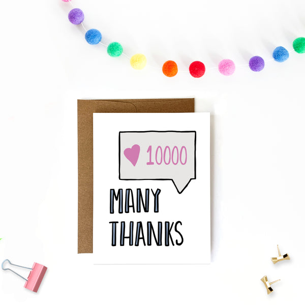 Many Thanks, Thank You Card - Single Card or Boxed Set - NEW