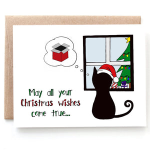 Christmas Wishes Cat Card - Single Card or Set of 8 Cards