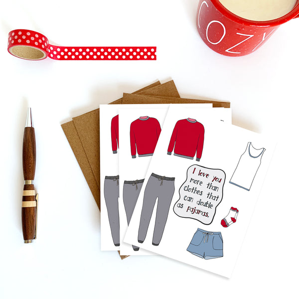 Pajama Clothes, Valentine's Day Card, Cozy Pjs