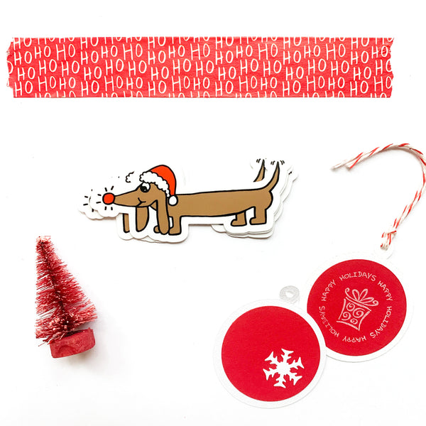 Dachshund Dog Christmas Sticker, Waterproof Vinyl Dog Holiday Sticker, Wrapping, Laptop, Water Bottle, Journal Sticker, Gift Under 5.