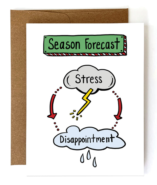Season Forecast, Funny Holiday Card - Single Card or Set of 8 - NEW