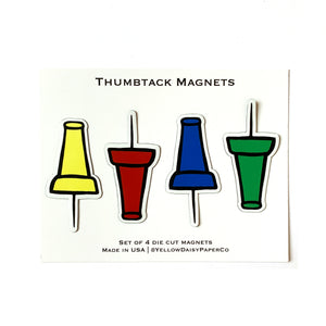 Thumbtack Magnet Set, Four Die Cut Magnets