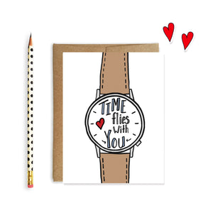 Time Flies With You, Anniversary Card, Valentine Card - NEW
