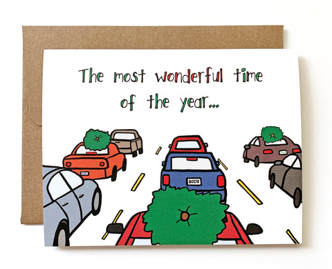 Traffic Nightmare, Funny Christmas Card - Single Card or Set of 8
