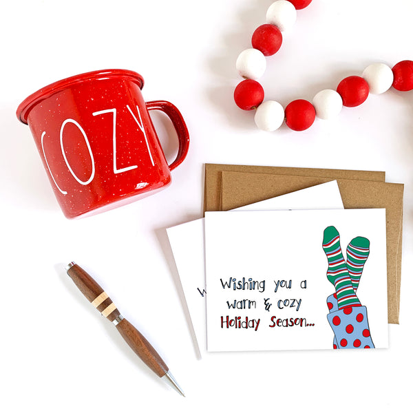 Warm & Cozy Christmas Card - Single Card or Set of 8
