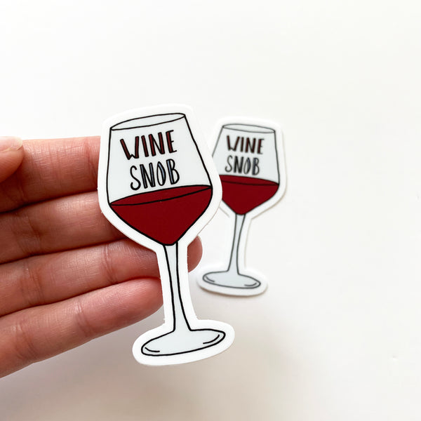 Wine Snob Sticker, Vinyl Wine Sticker