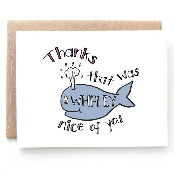 Whaley Nice, Punny Thank You Card, Single Card or Boxed Set of 8