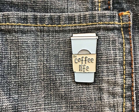Coffee Life Enamel Lapel Pin Black