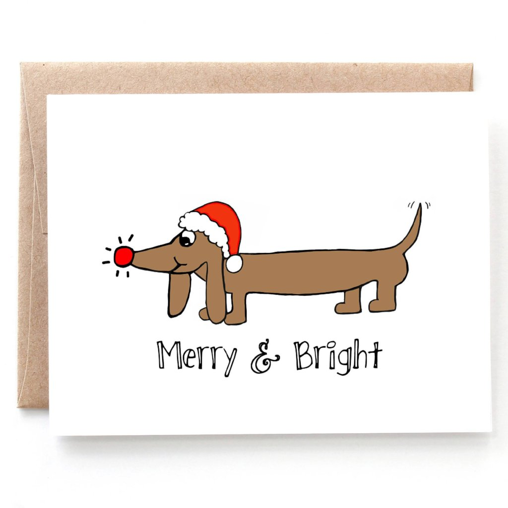 Merry & Bright Christmas Card - Single Card or Set of 8