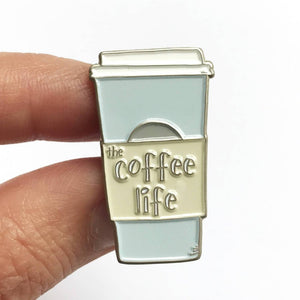 Coffee Life Enamel Lapel Pin Silver