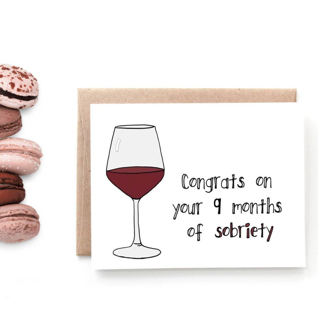 9 Months of Sobriety, Baby Congratulations Card