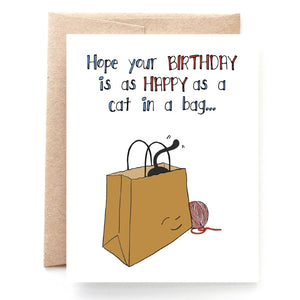 Cat In A Bag Birthday Card