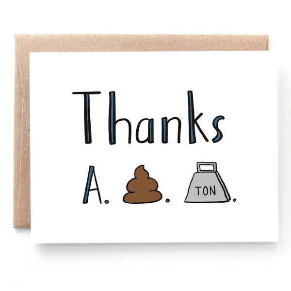 Thanks A S*** Ton Thank You Card - Single Card or Set of 8