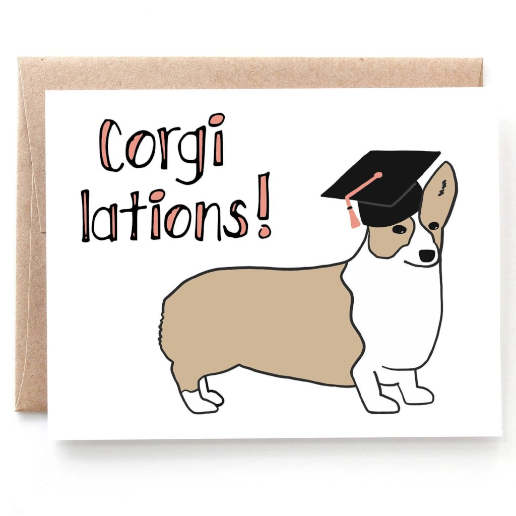 Corgi lations Graduation Card