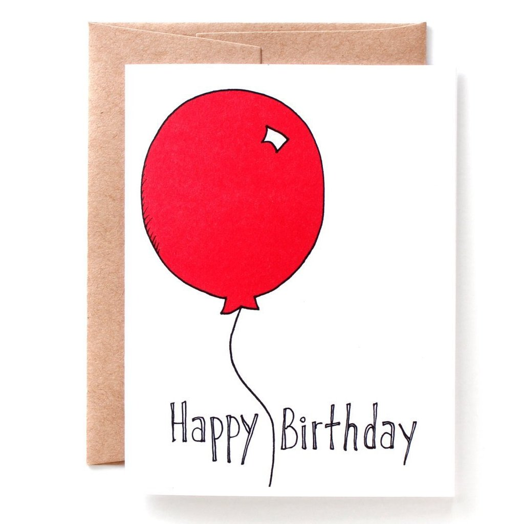 Big Red Balloon Birthday Card