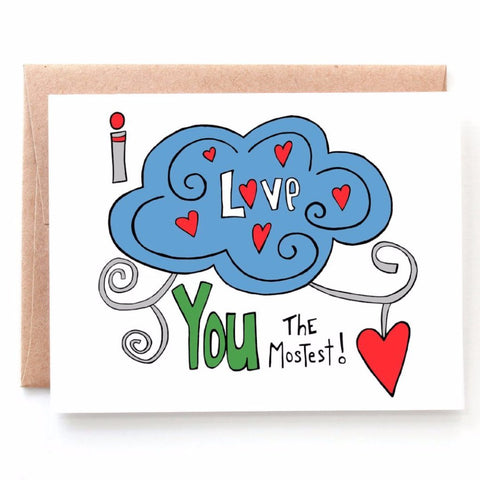 Love You The Mostest, Anniversary or Valentine's Day Card