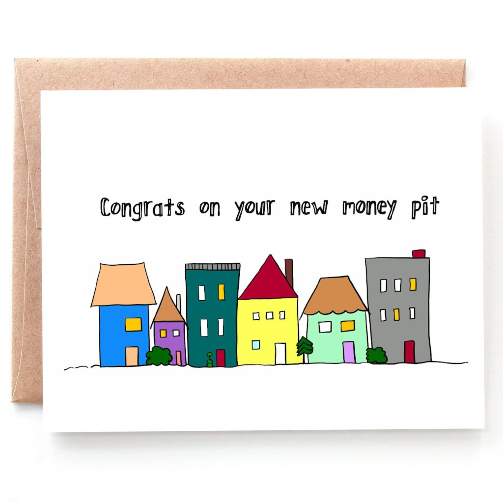 Money Pit Housewarming Card, Congratulations Card