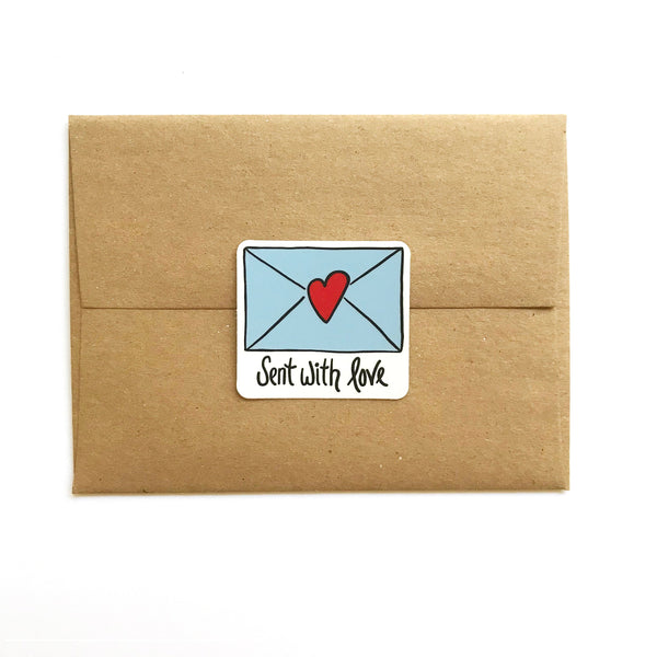 Sent with Love Stickers, Set of 6 Vinyl Envelope Seals