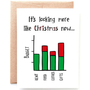 Holiday Budget Christmas Card - Single Card or Set of 8