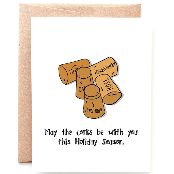 Corks be with You Christmas Card