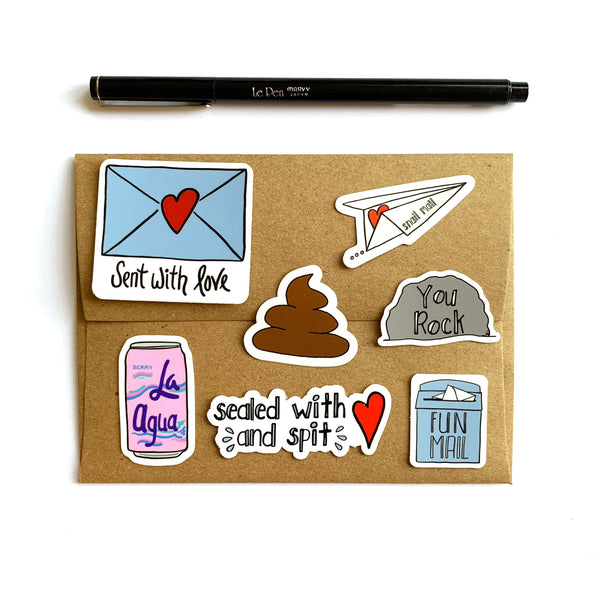 Snail Mail Plane Vinyl Stickers, Small Envelope Stickers