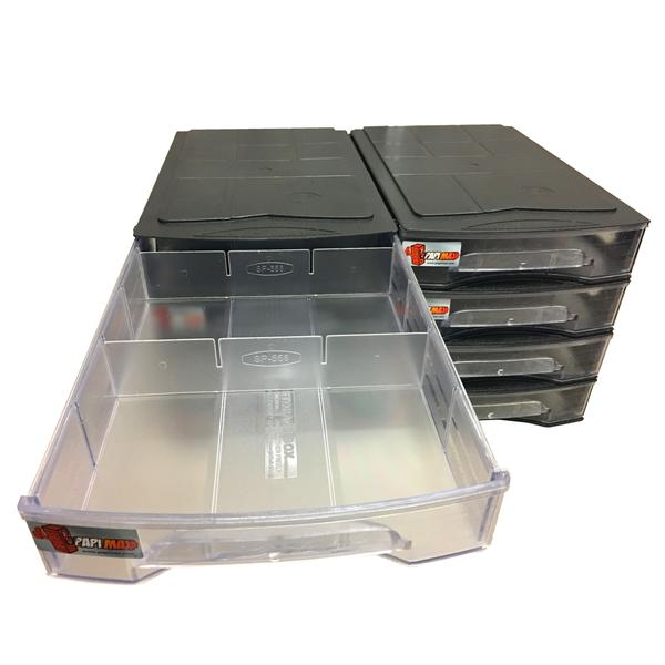 Papi Max StackX 2.0 - 120 Compartment Brick Storage Box Drawer System with dividers – Black