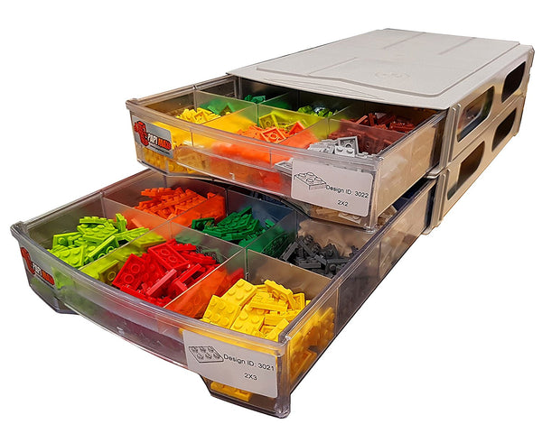 Papi Max StackX 2.0 - 120 Compartment Brick Storage Box Drawer System with dividers – White