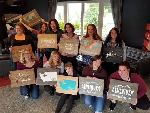Wood sign pallet painting party work event