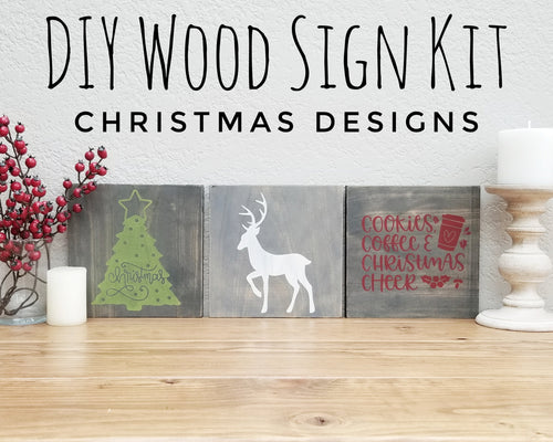 Christmas DIY Wood Sign Kit | Various Designs | Set of 3 Mini Signs