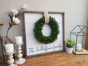 Family Name Shiplap Framed Sign with Boxwood Wreath