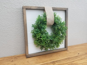 Shiplap Framed Sign with Boxwood Wreath