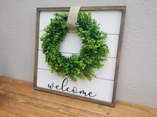Load image into Gallery viewer, Welcome Shiplap Framed Sign with Boxwood Wreath