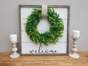 Welcome Shiplap Framed Sign with Boxwood Wreath