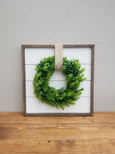 Load image into Gallery viewer, Shiplap Framed Sign with Boxwood Wreath