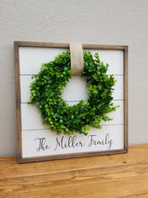 Load image into Gallery viewer, Family Name Shiplap Framed Sign with Boxwood Wreath