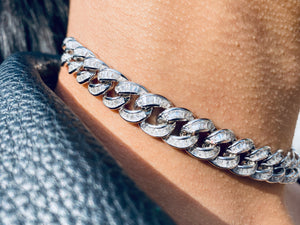 Baguette Diamond 925 Silver Cuban 10mm Adjustable Choker Necklace [¥€$ BY End Of Currency]