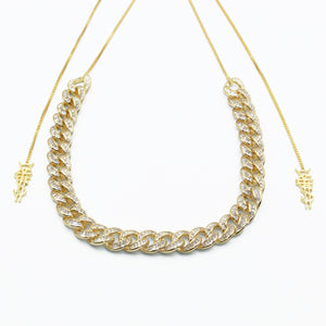 Gold Baguette Diamond 925 Silver Cuban 10mm Adjustable Choker Necklace [¥€$ BY Tosh Yagishita]