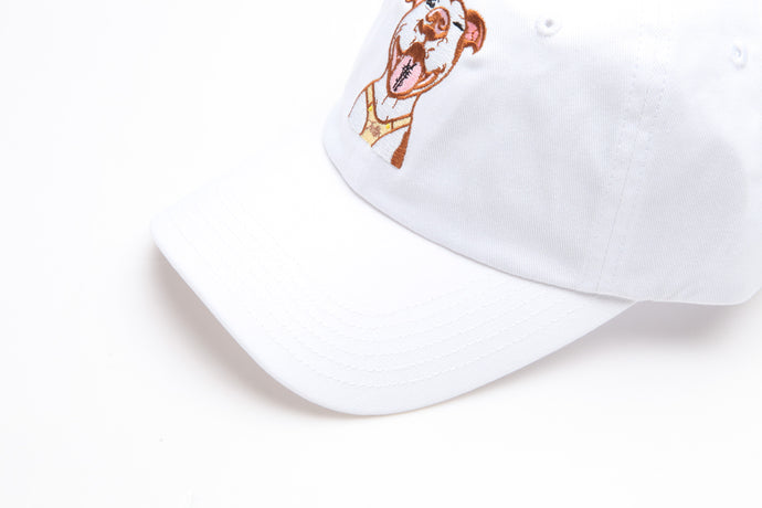 The ¥€$ White Pitbull Dad Hat [¥€$ BY End Of Currency]