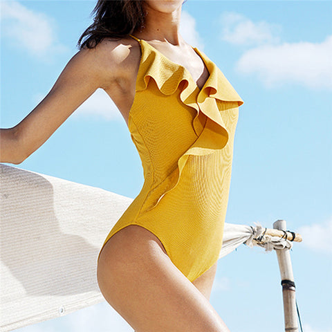 Yellow Ruffle Detail One Piece Swimsuit