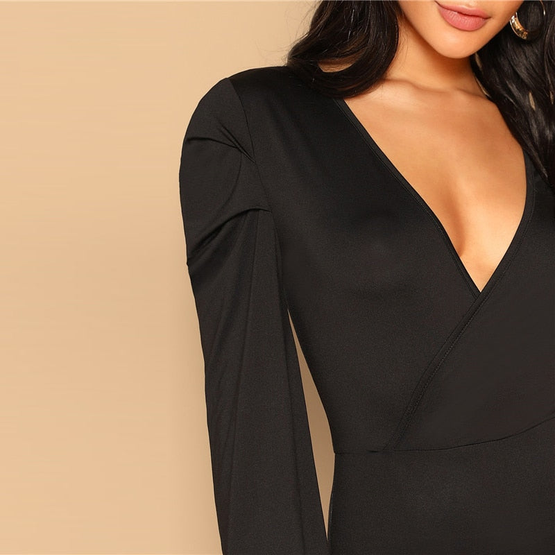 SHEIN Women Black Deep V Neck Slim Fitted Solid Bodysuit Modern Lady Spring Out Going Sexy Lantern Long Sleeve Bodysuits