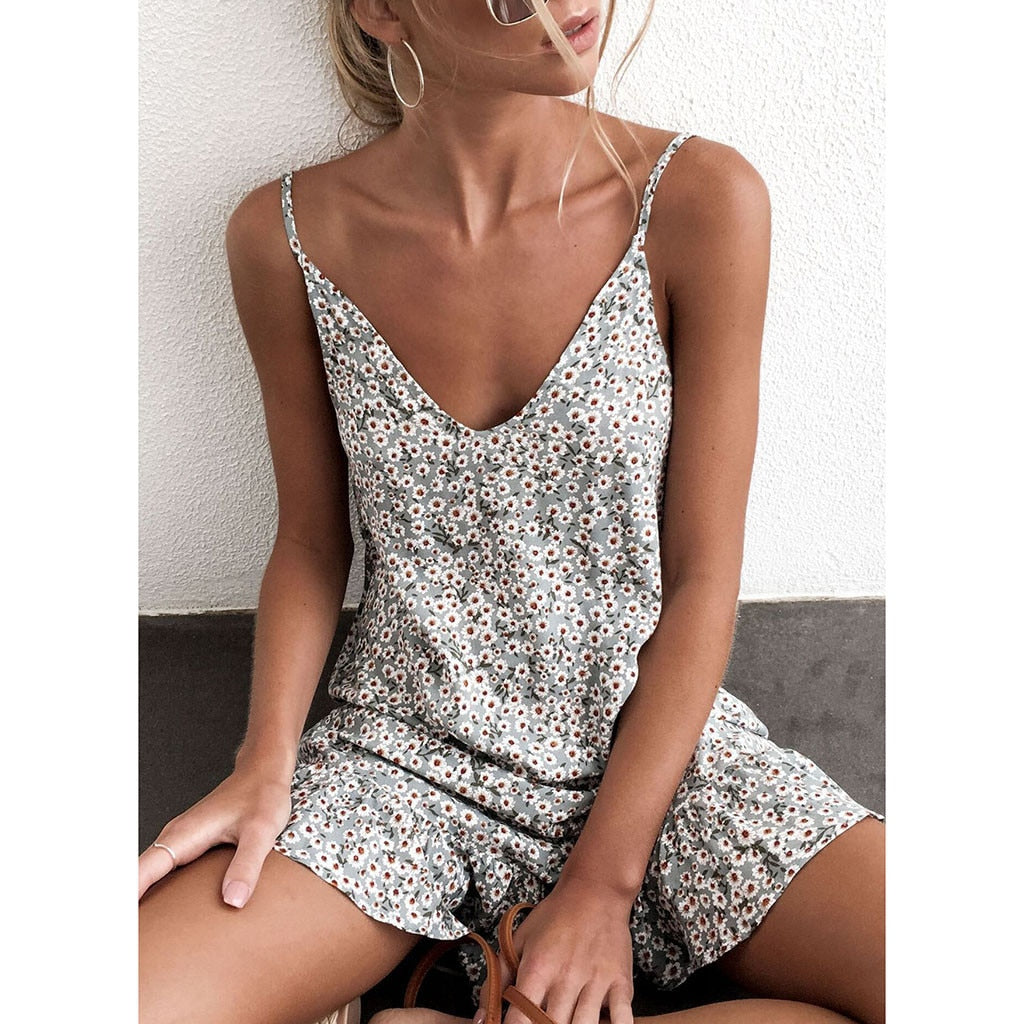 Summer Women's Printing Off-Shoulder Sleeve Mini Dress