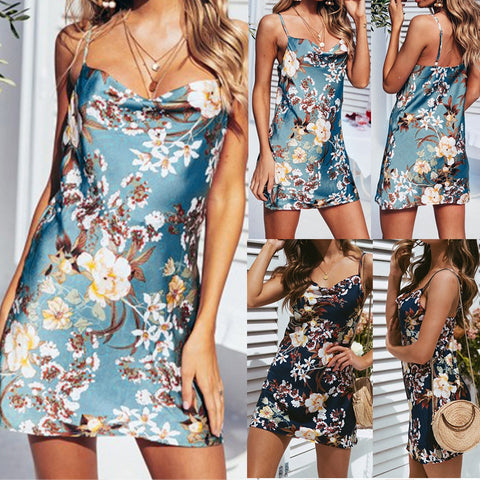 Women's Casual Tank Summer Beach Floral Mini Dress